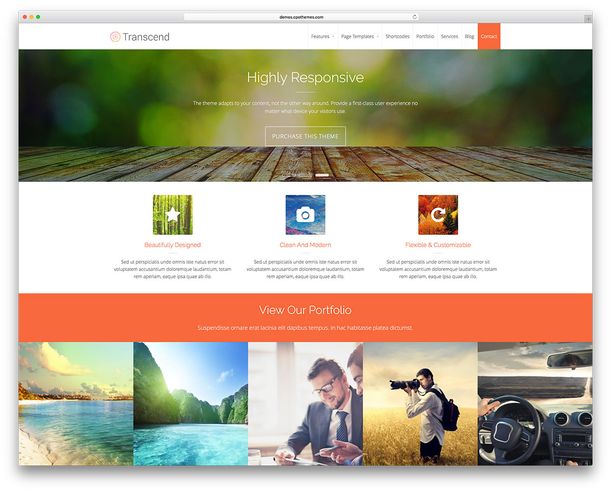 Transcend Free Portfolio WordPress Theme