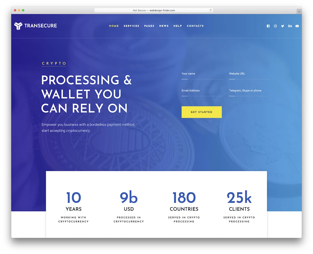 transecure cryptocurrency wordpress theme