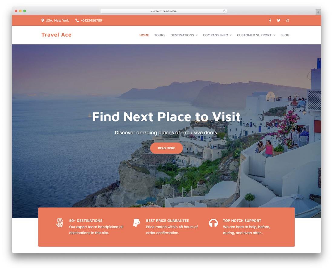 travel ace free wordpress theme
