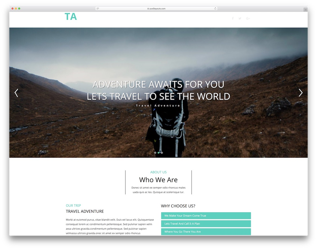 travel adventure website template