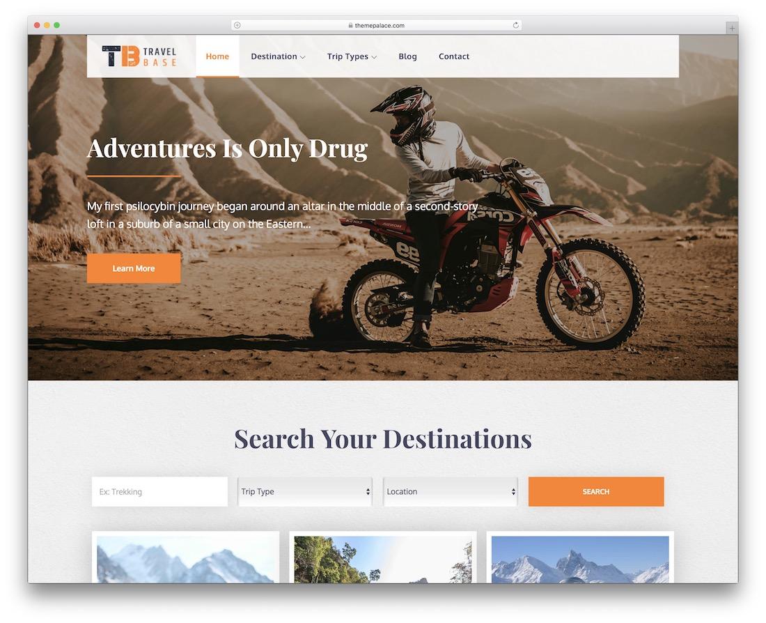 travel base free wordpress theme