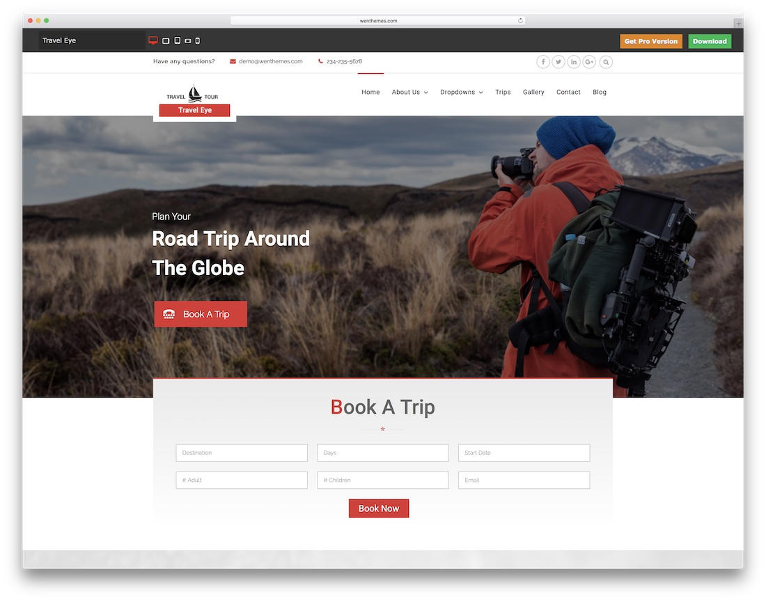 travel eye website template