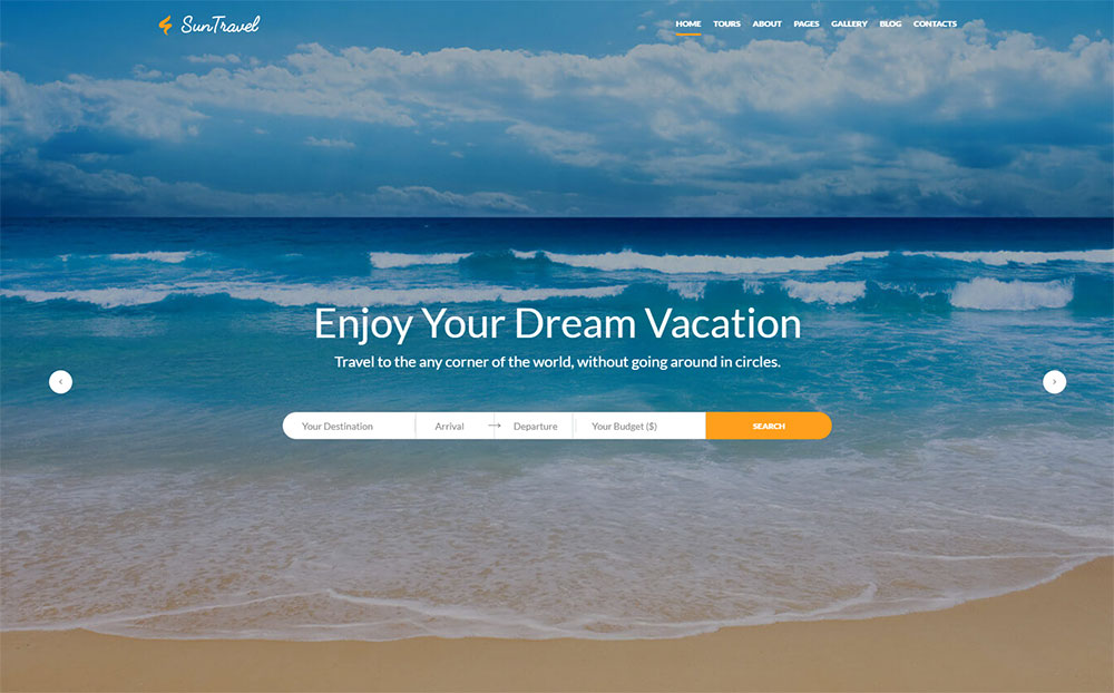 Sun Travel - Travel Agency Online Website Template