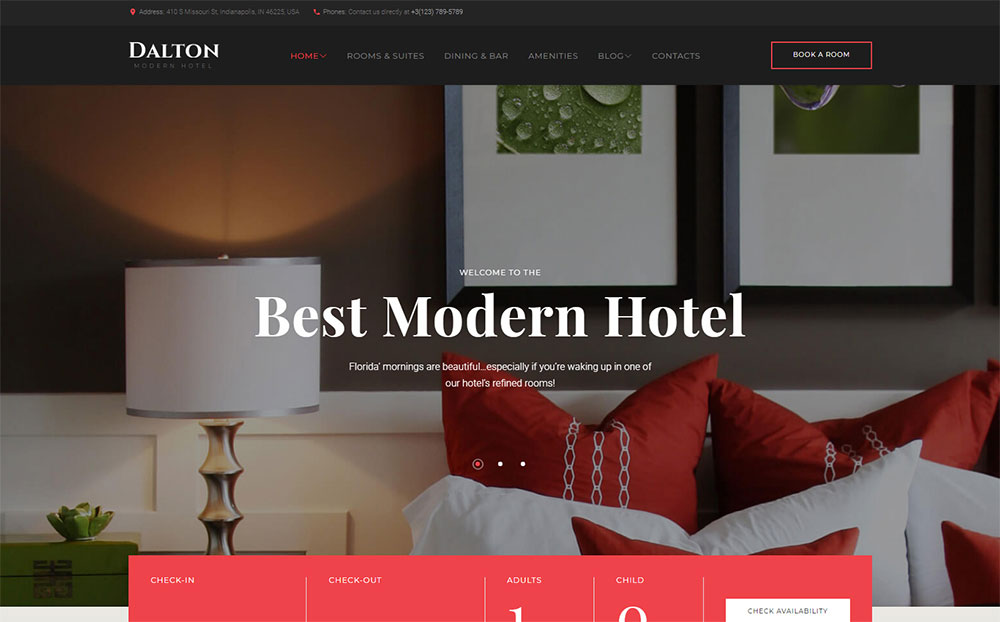 Modern Hotel WordPress Theme