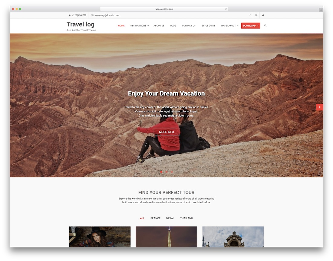 travel log website template