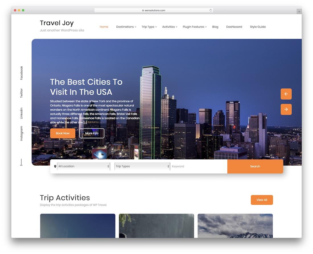travel ocean free wordpress theme