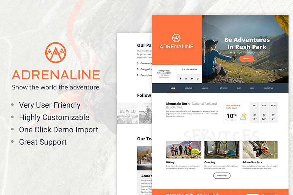 Adrenaline - WordPress theme for adrenaline sports businesses WordPress Theme