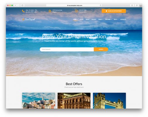 Travel Vacation Website Templates