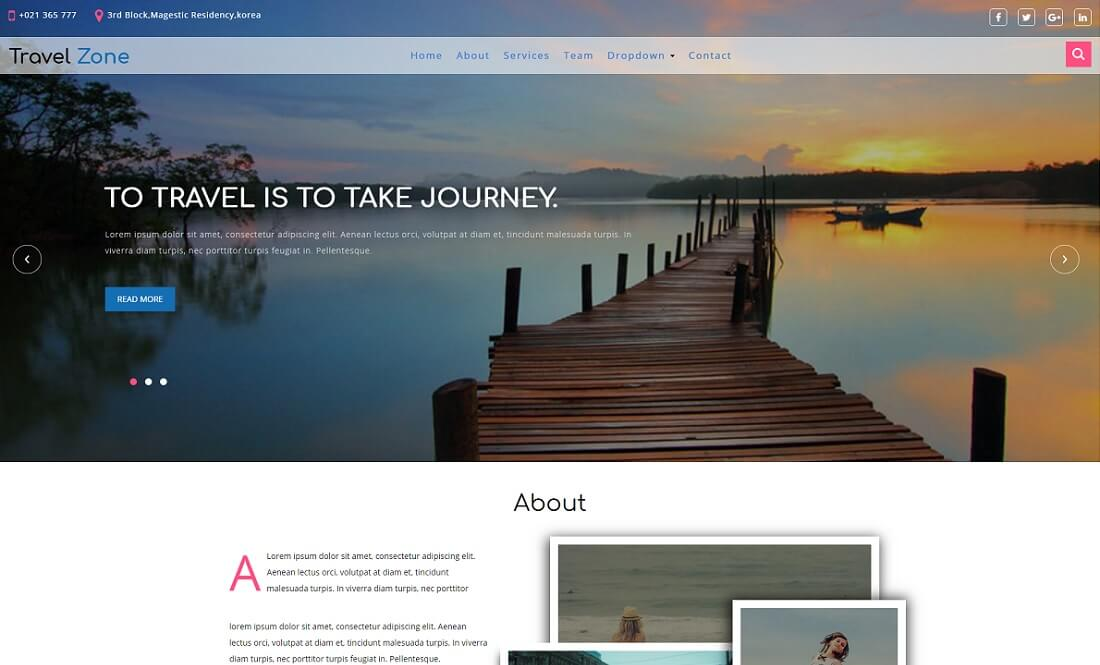 travel zone free directory website template