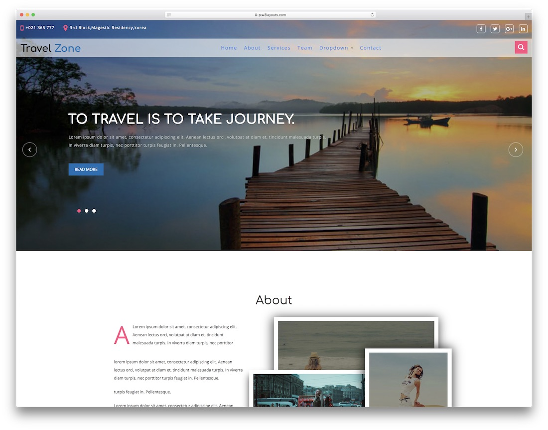 travel zone website template