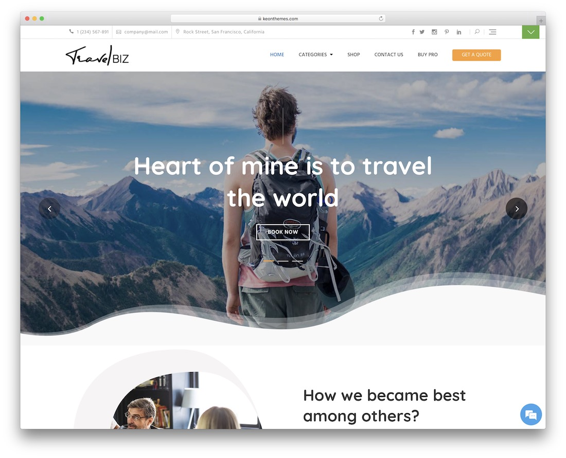 travelbiz free wordpress theme
