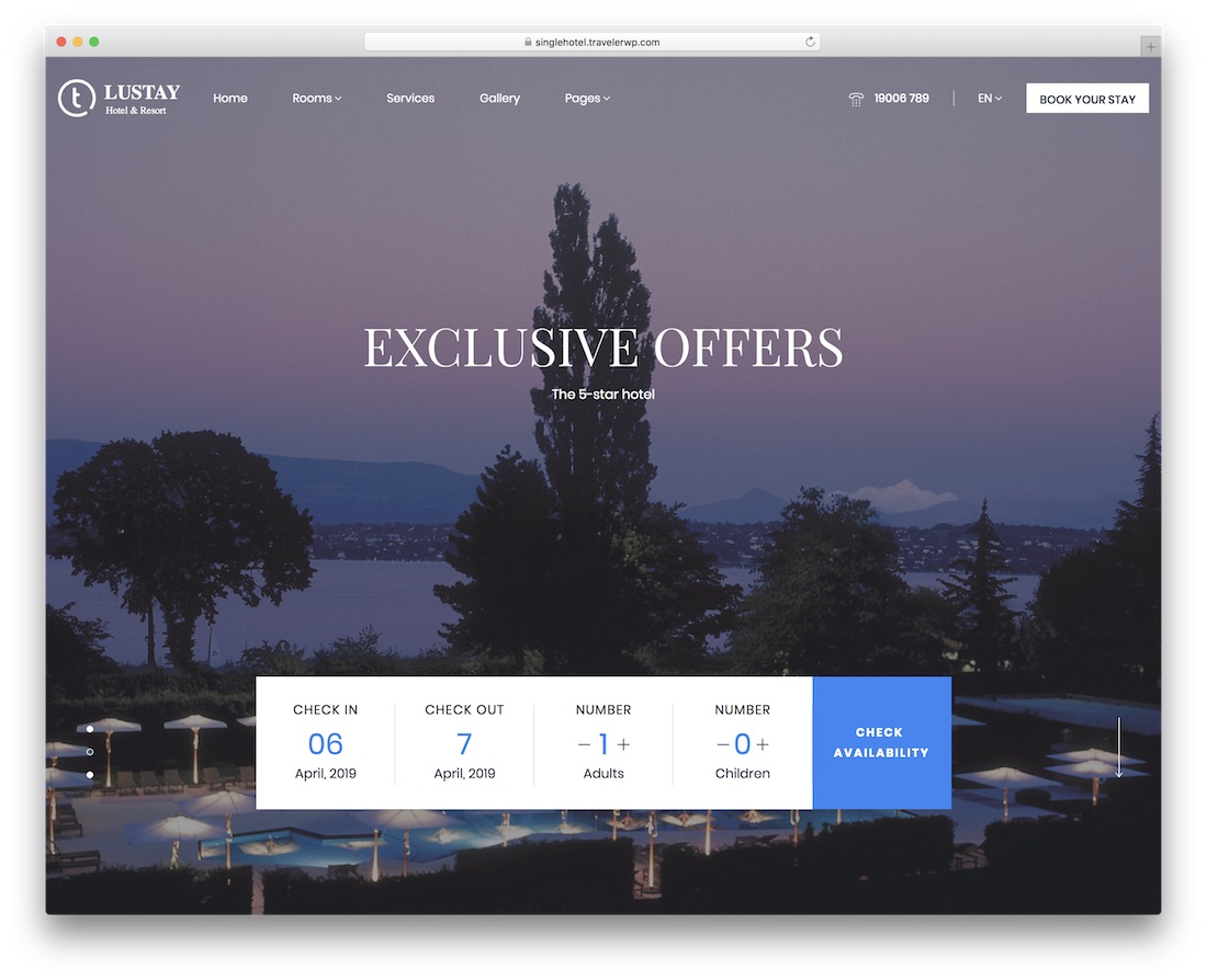 traveler - theme wordpress pour hotel