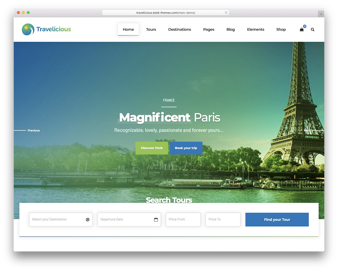 travelicious travel agency wordpress theme