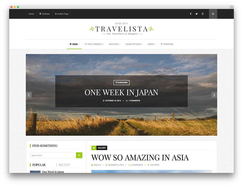 travelista - simple blog theme