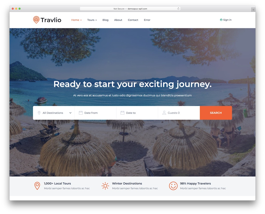 travlio travel agency wordpress theme