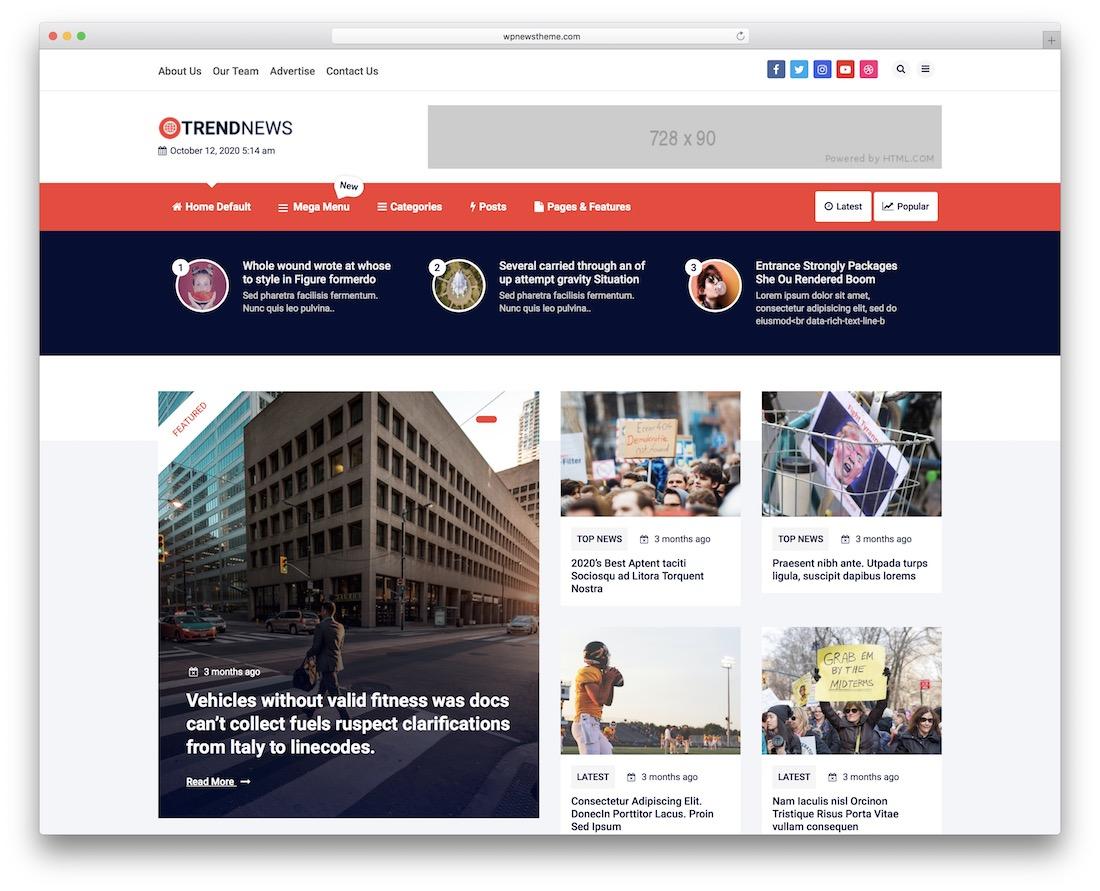 trend news free flat design wordpress theme
