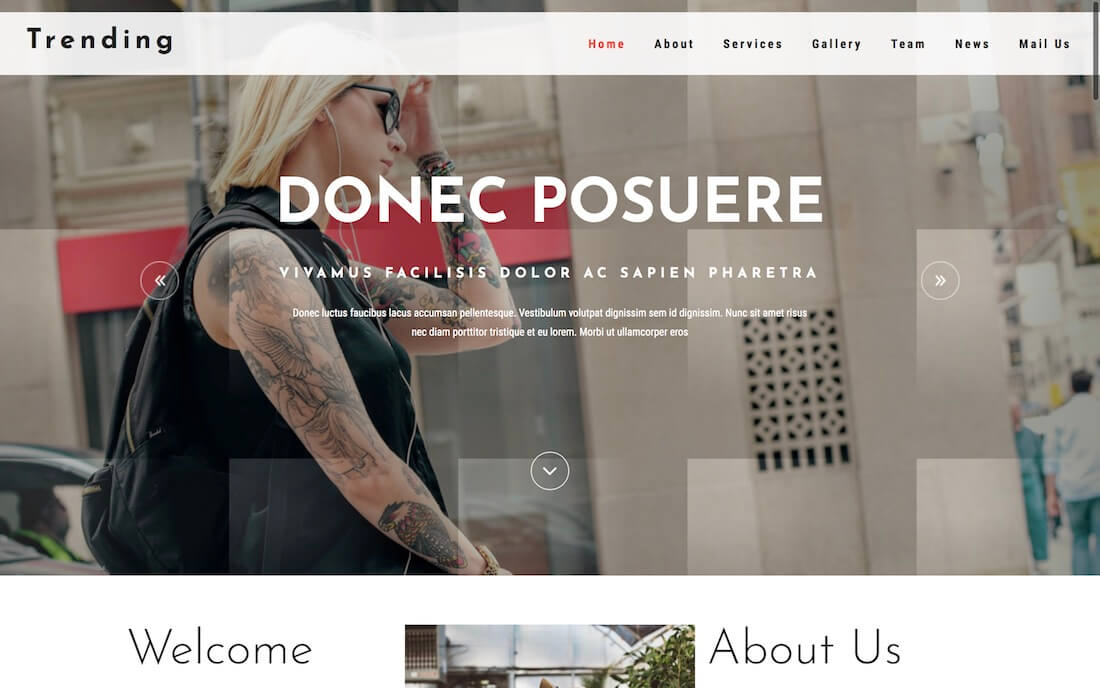 trending free fashion website template