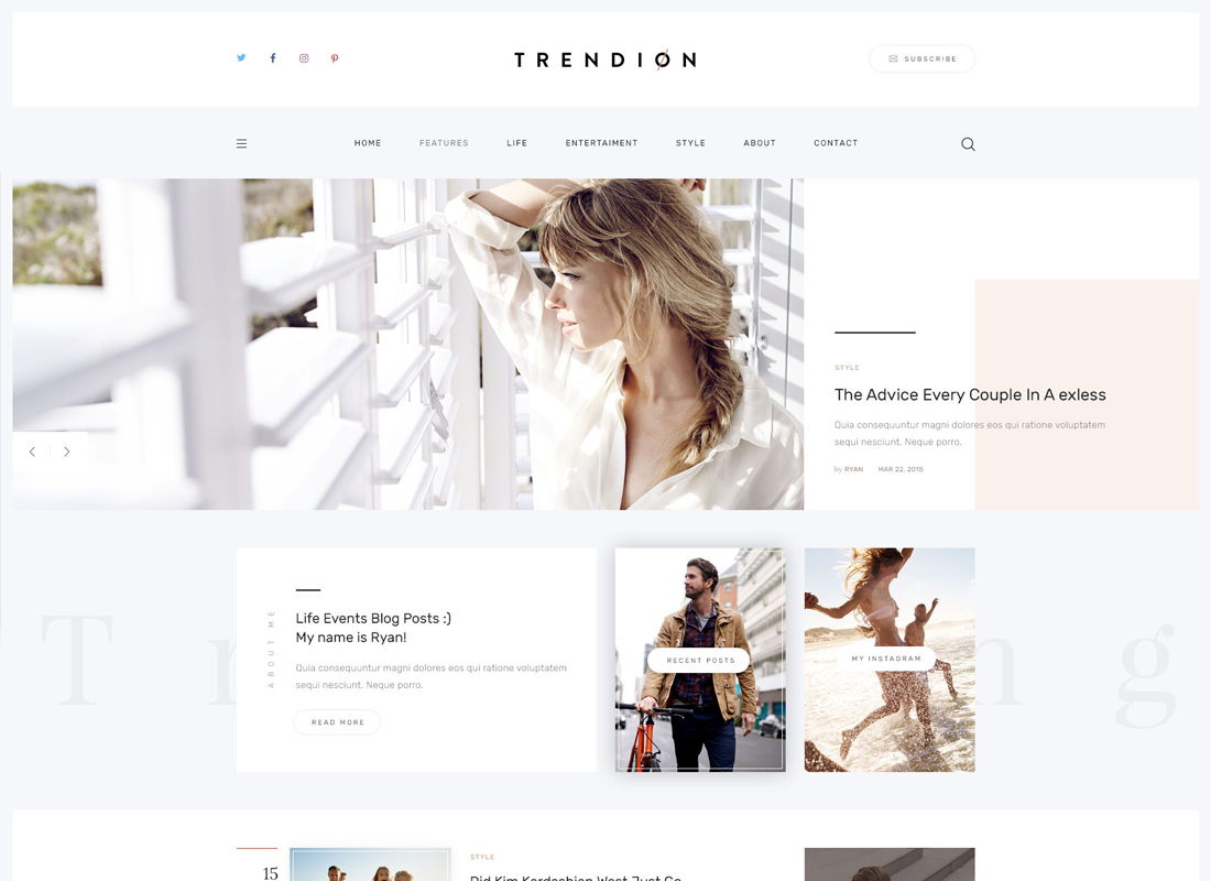 Trendion | A Personal Lifestyle Blog and Magazine WordPress Theme