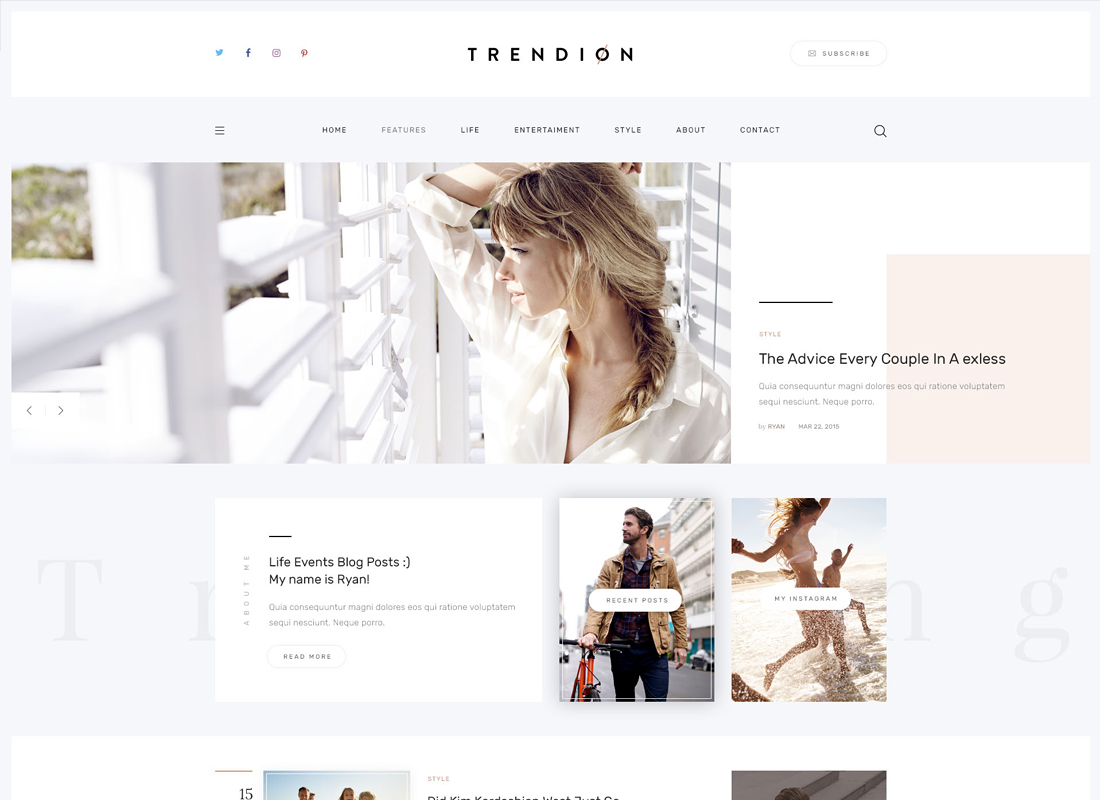 Trendion - A Personal Lifestyle Blog and Magazine WordPress Theme