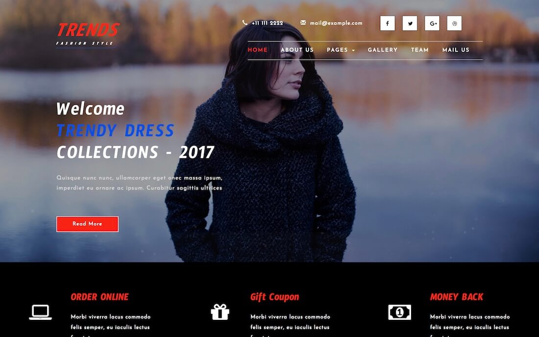 trends free fashion website template