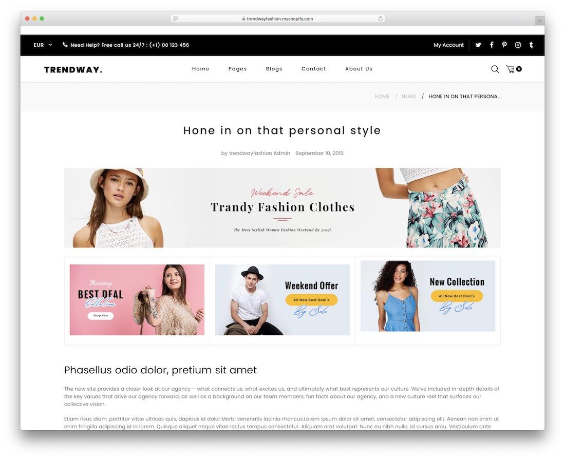 trendway shopify blog theme