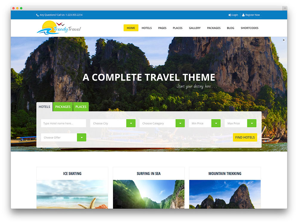 trendy travel WordPress theme