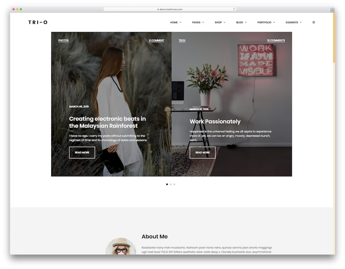 trio writer website template