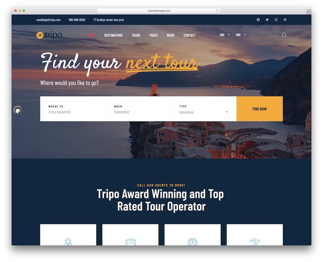 tripo wordpress travel theme