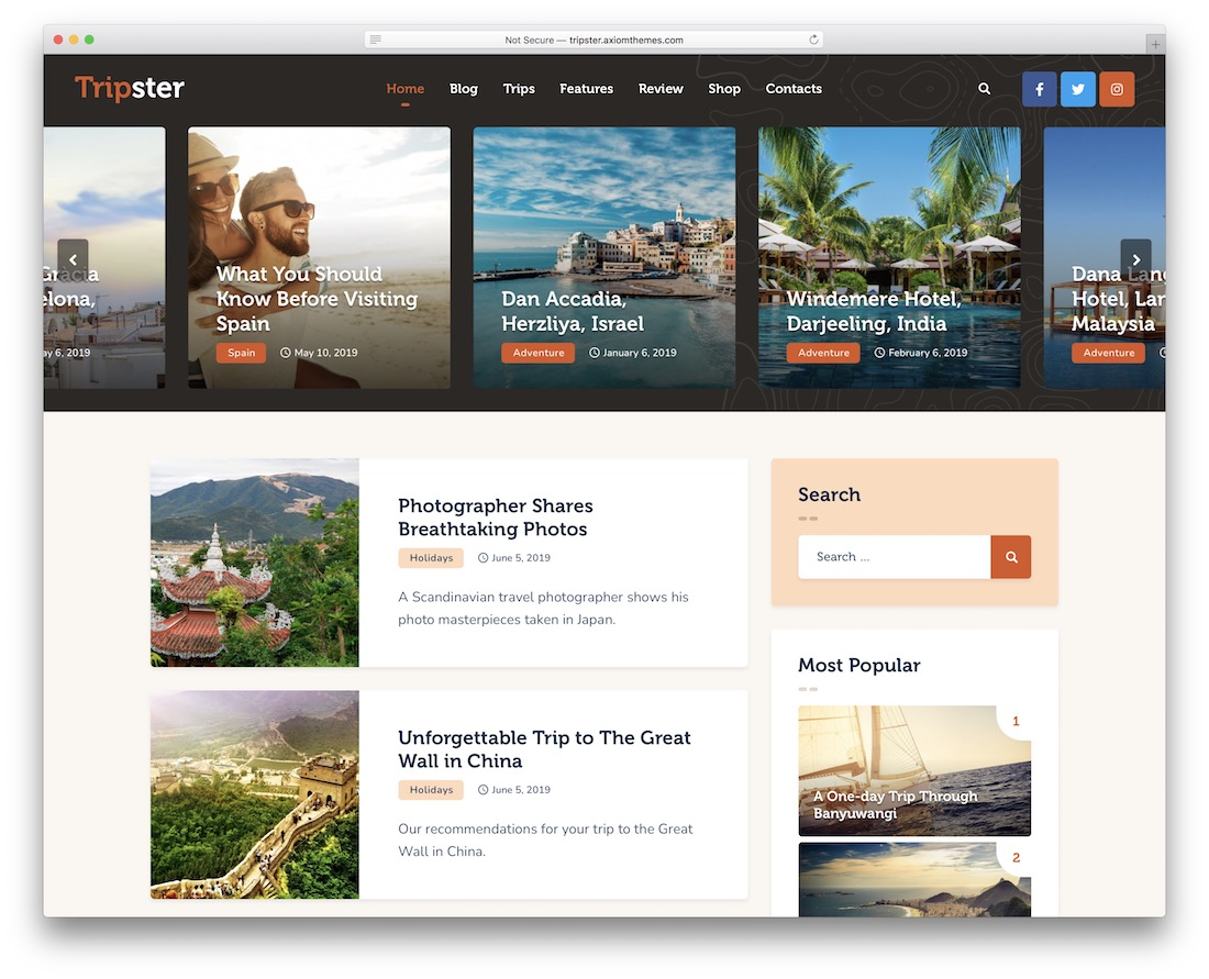 tripster wordpress instagram theme