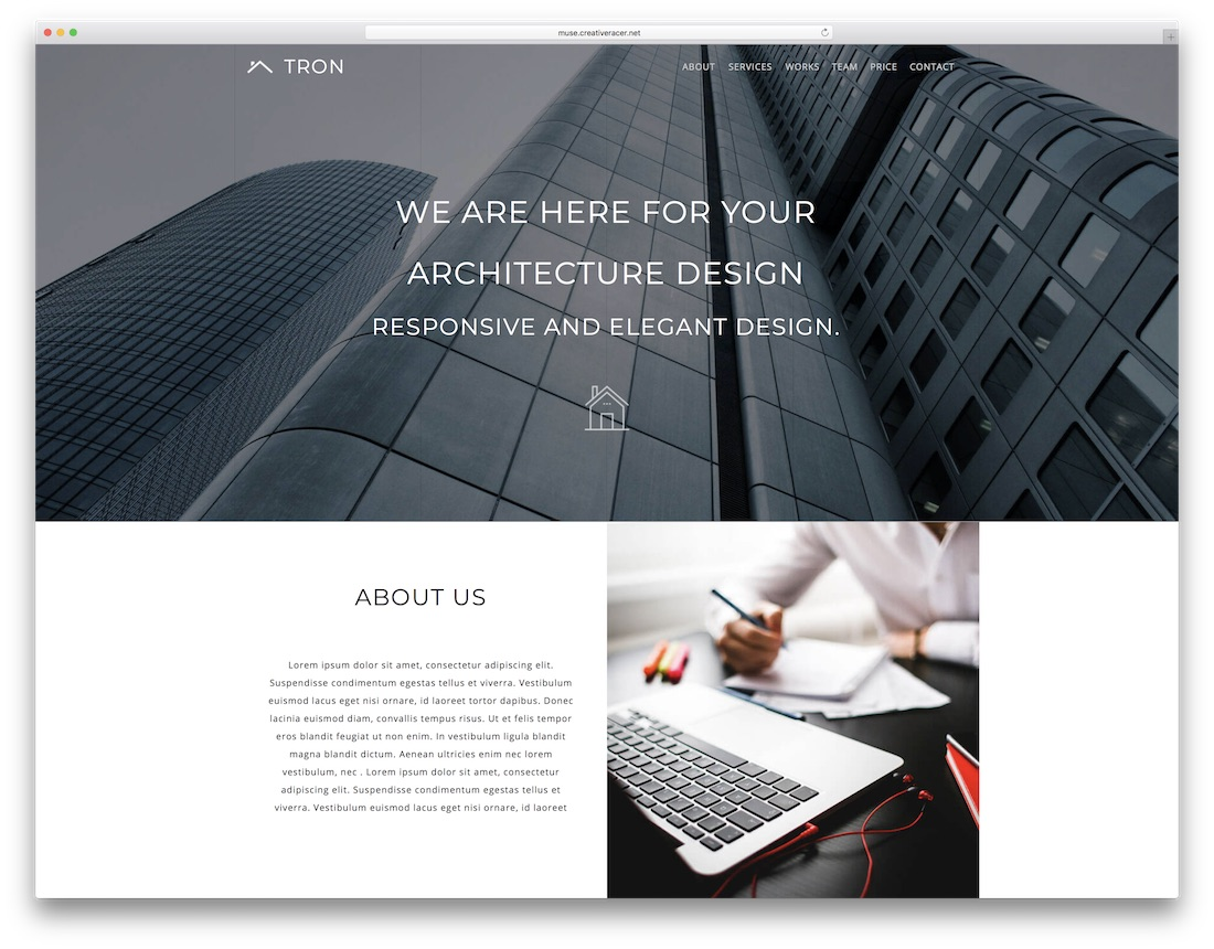 tron adobe muse template