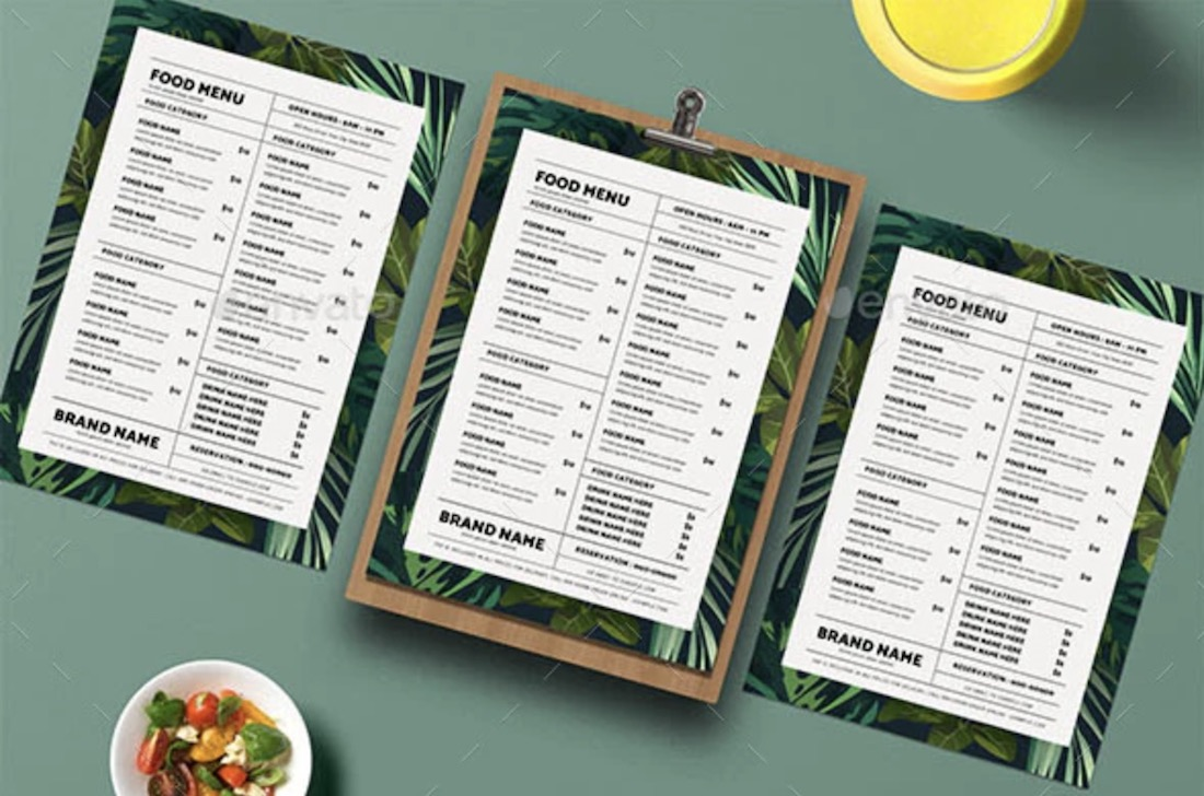 tropical food menu