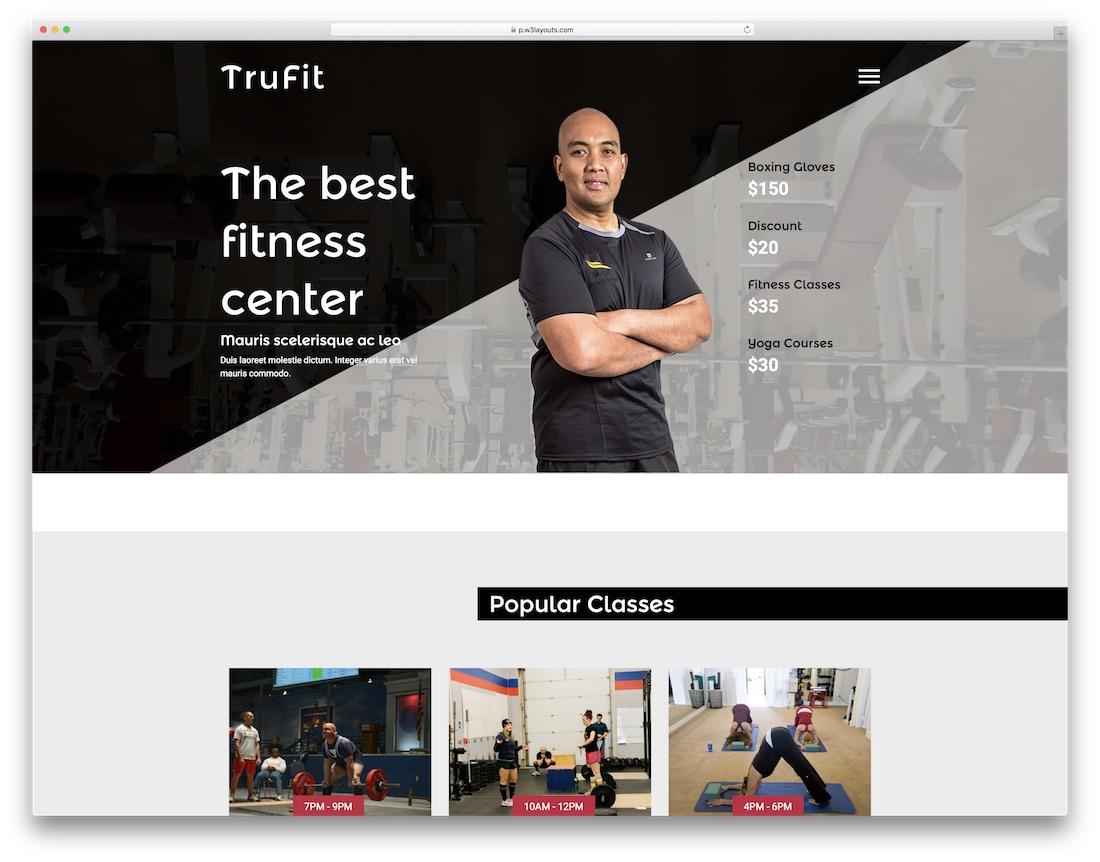 tru fit free fitness website template