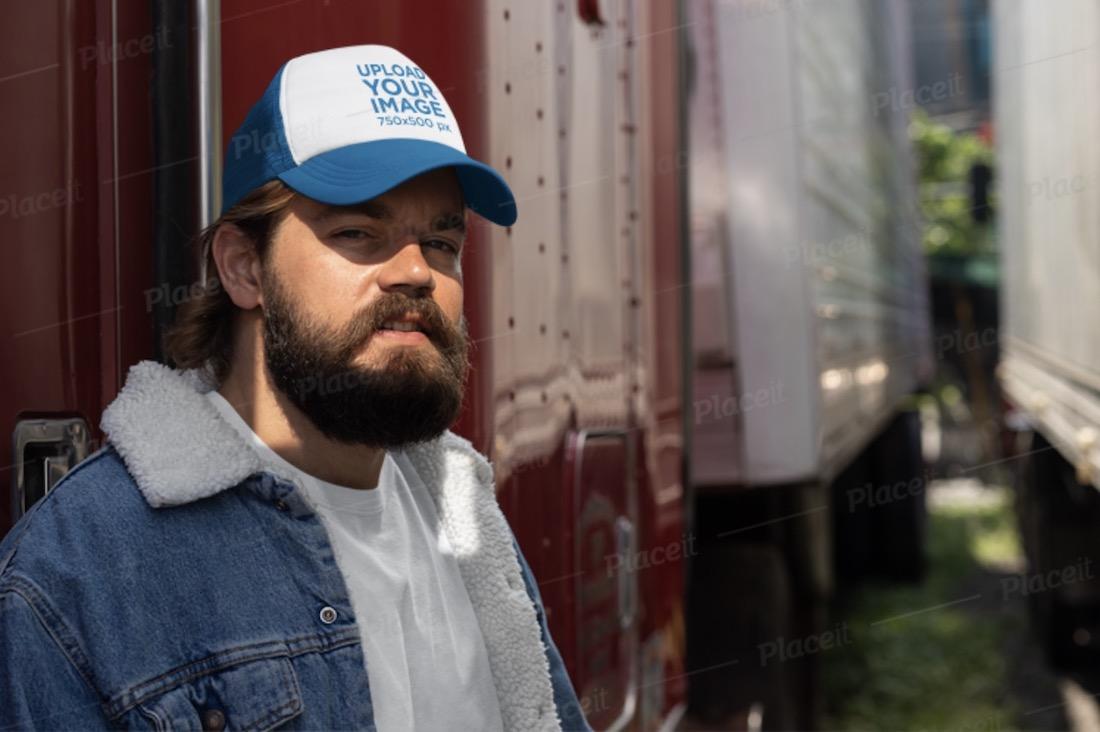 trucker hat mockup featuring a bearded man