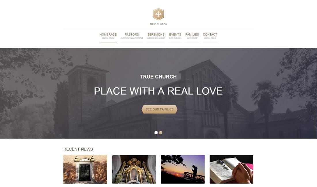 true free church website template