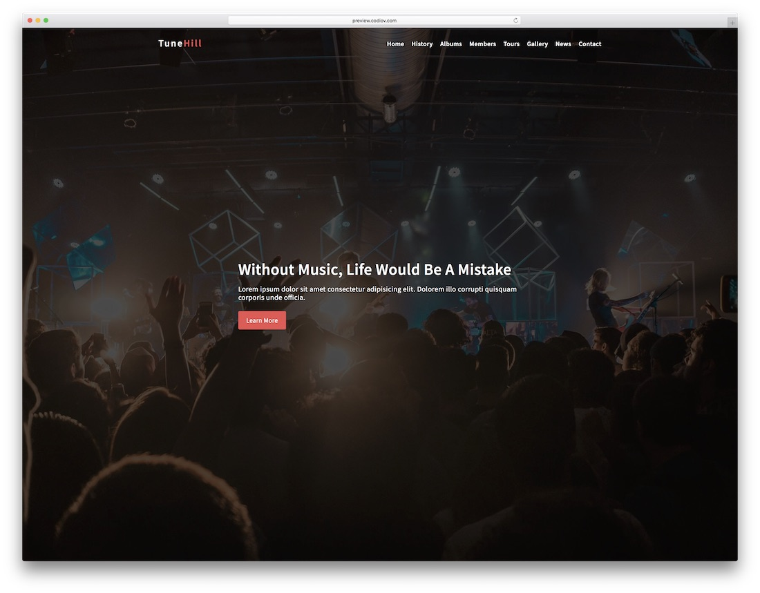tunehill bootstrap music template
