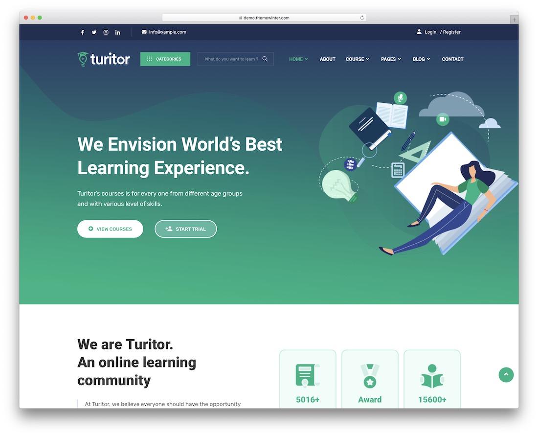 turitor school website template