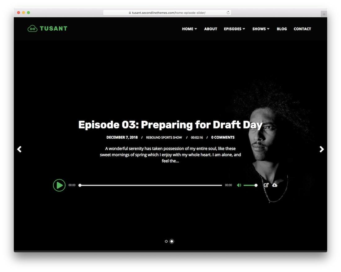 tusant wordpress podcasting theme