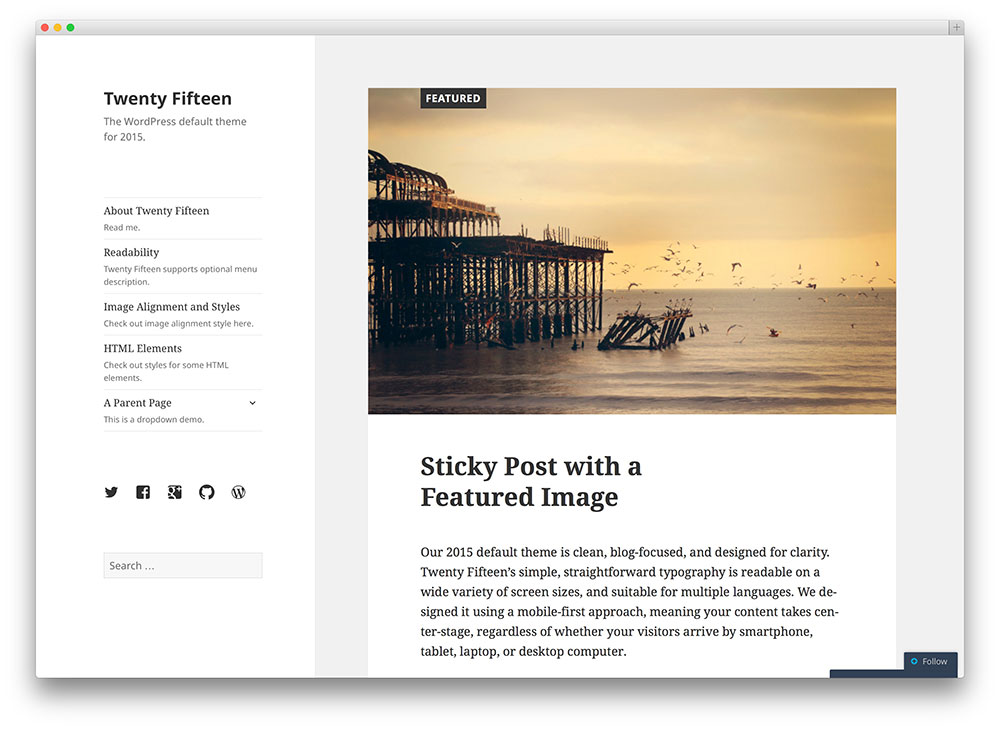 twenty fifteen - default WordPress theme