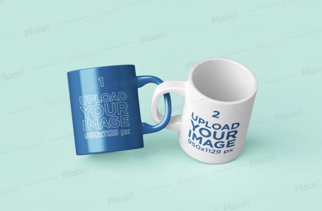 two 11 oz coffee mugs mockup