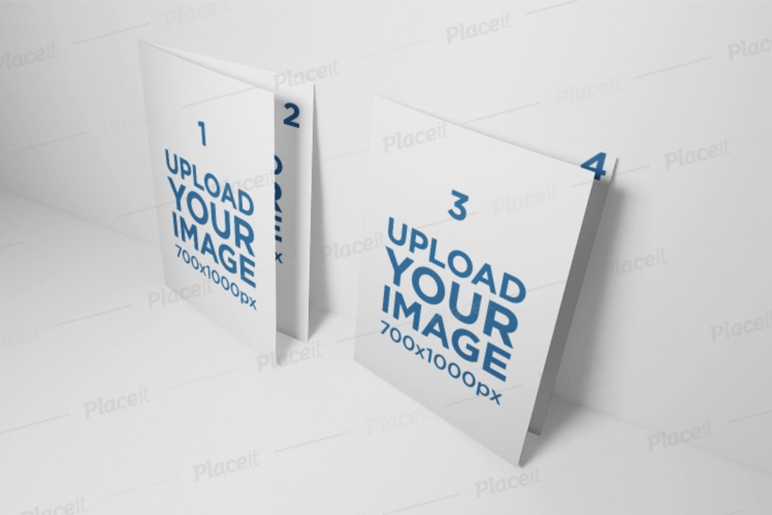 two folded a5 brochures mockup