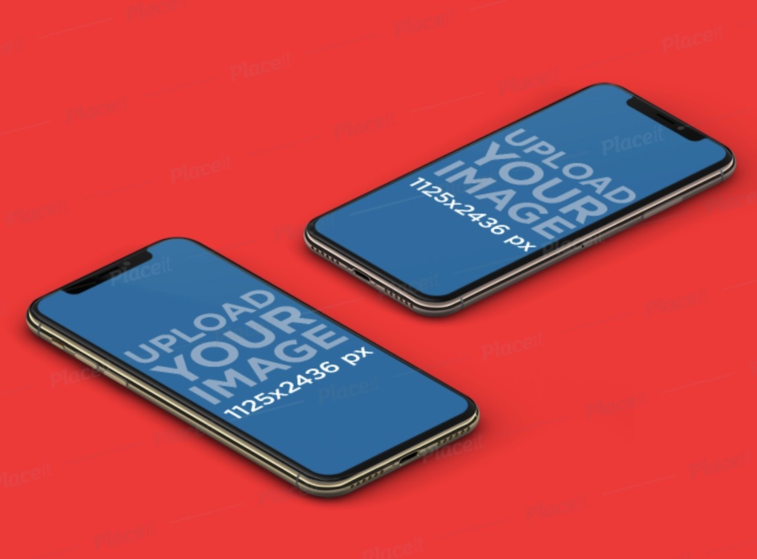 two iphones lying on a solid color background