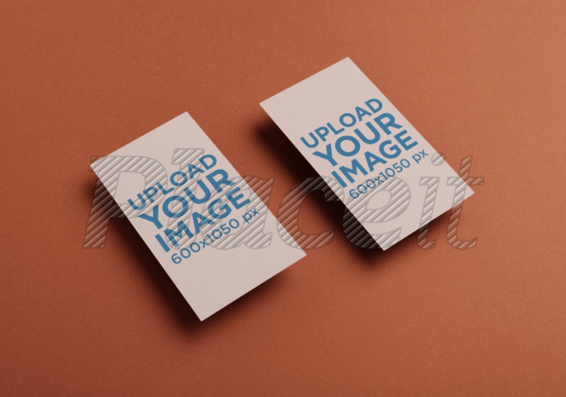 two vertical business cards mockup