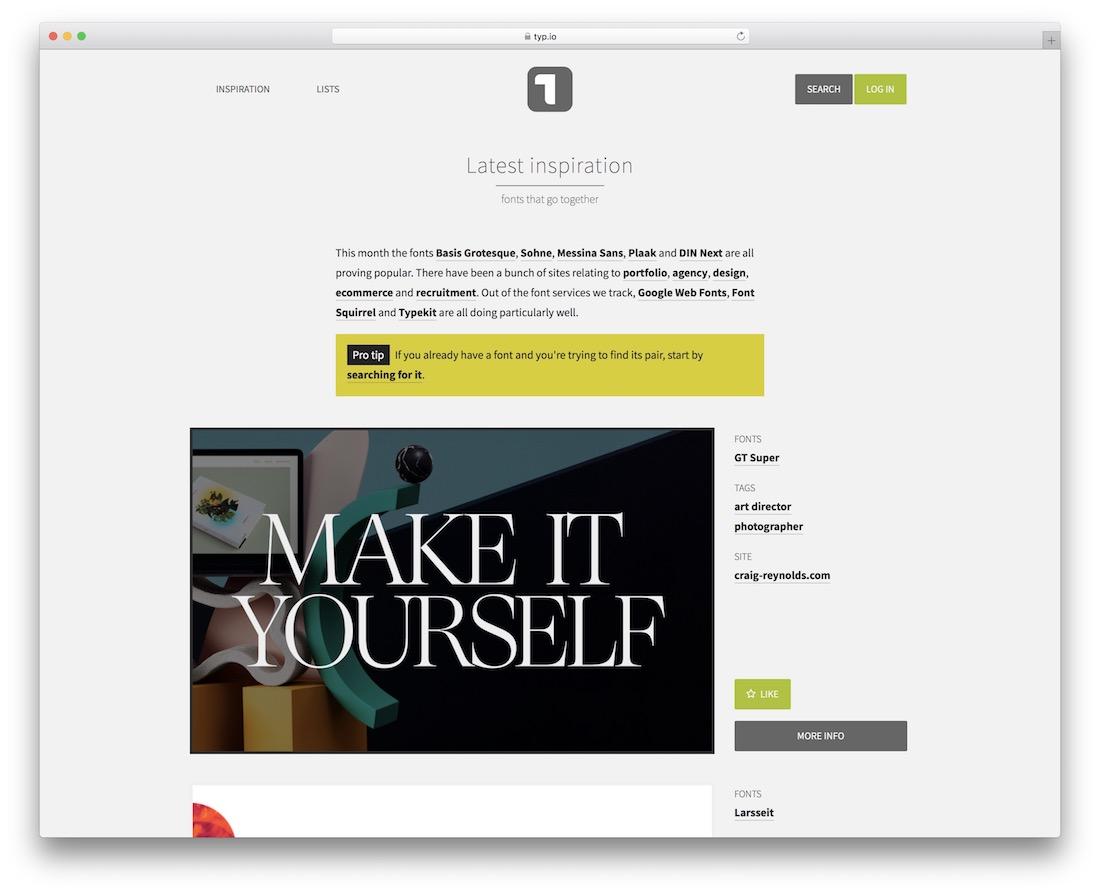 typ showcase inspiration site web design