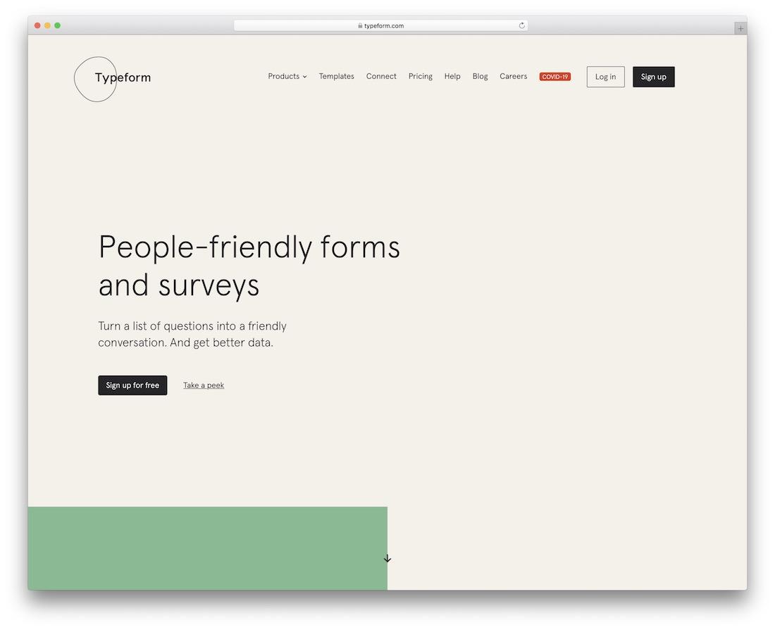 typeform online form and survey maker