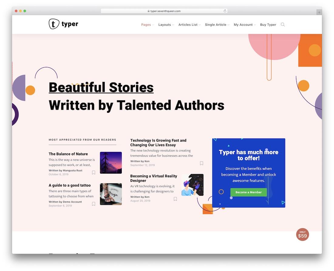 typer author wordpress theme