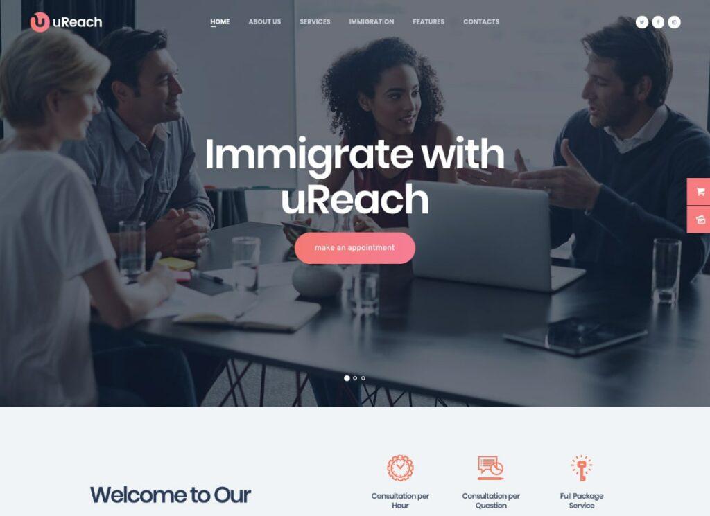 uReach   Immigration Consulting WordPress Theme
