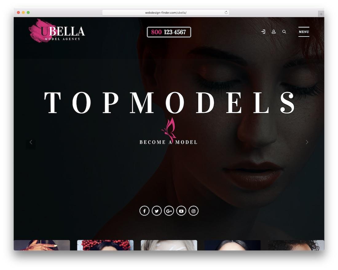 ubella model agency wordpress theme
