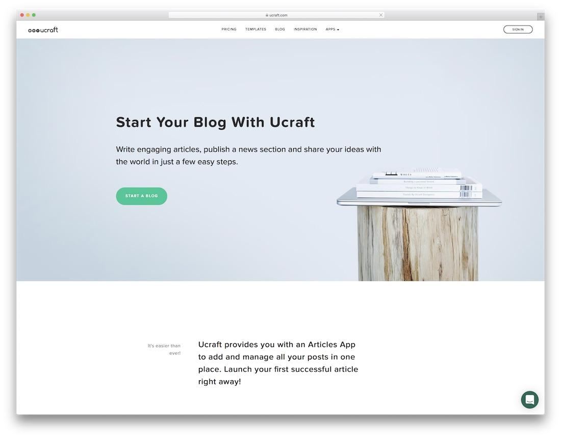 ucraft website builder for blogs