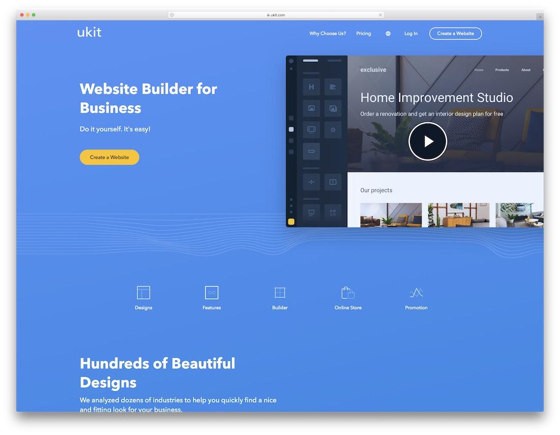 ukit drag and drop website builder
