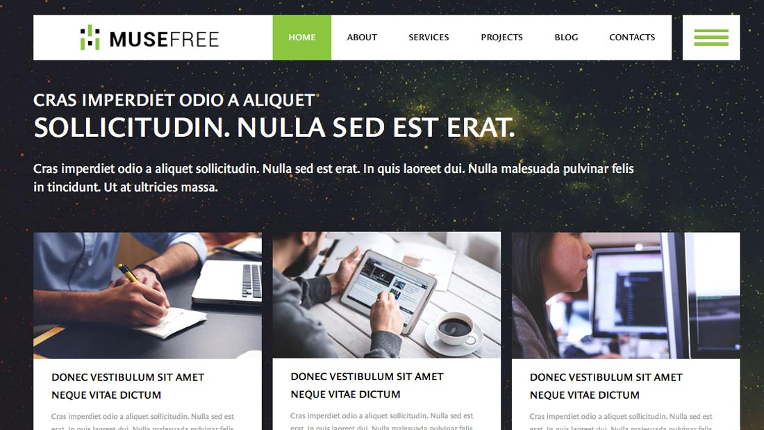 Free adobe muse template choices pick among 16 themes free adobe muse template pronofoot35fo Image collections